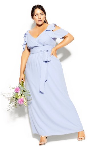 Plus Size Frill Treasure Maxi Dress - powder