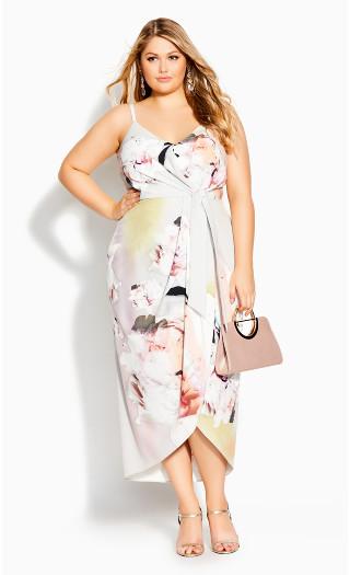 Glistening Floral Dress - ivory