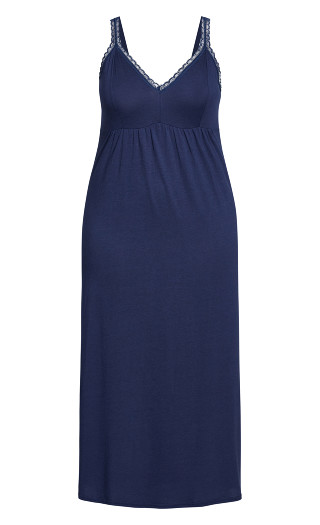 Lace Trim Maxi Sleep Dress - navy