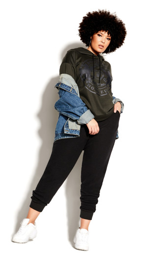 Plus Size Unwind Hoodie - khaki