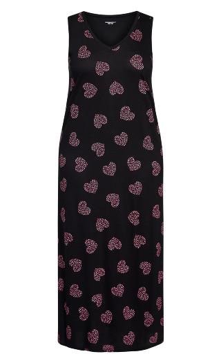 Pink Heart Maxi Sleep Dress - black