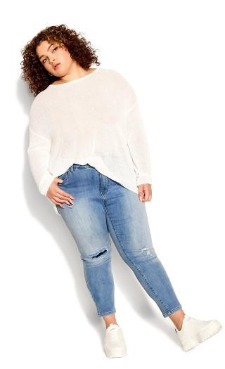 Plus Size Kailani Distressed Crop Jean - light wash