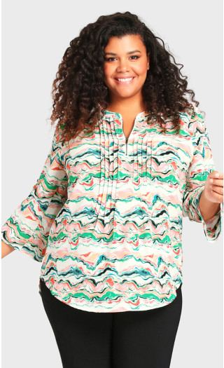 Plus Size Pleat Zip Print Blouse - green
