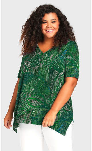 Sharkbite Print Top - green palm
