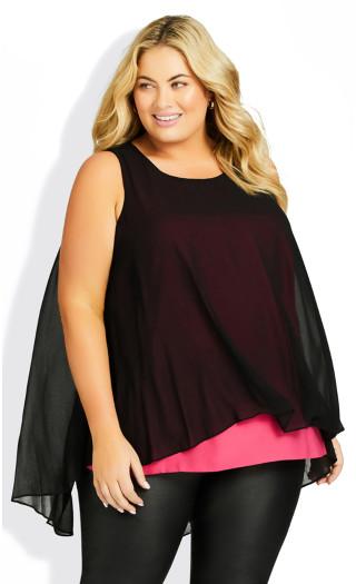 Plus Size Grace Double Layer Top - black