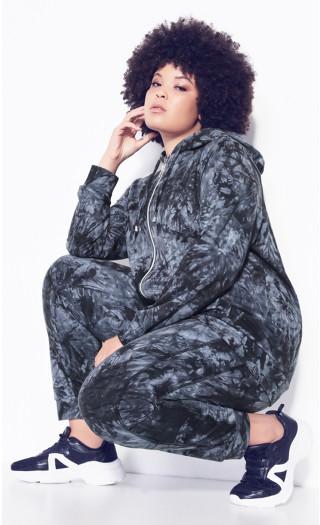 Plus Size Zip Print Jacket - black tie dye