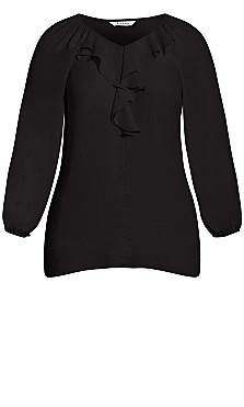 Ruffle Front Blouse - black