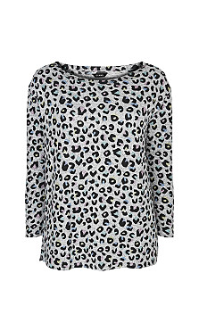Animal Print Soft Touch Top - grey