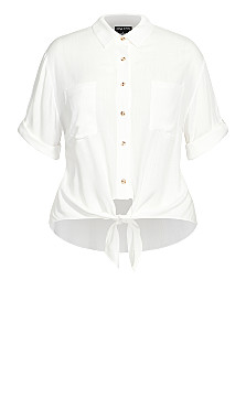 Tropical Tie Top - ivory