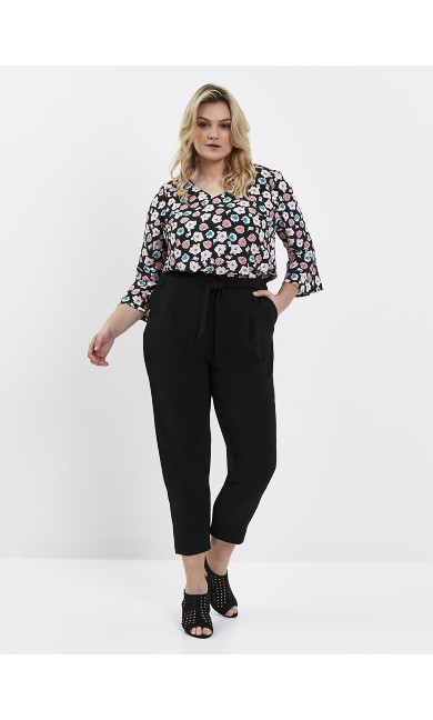 Black Soft Tie Front Tapered Trousers