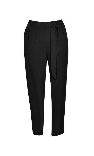 Black Pebble Belted Trousers