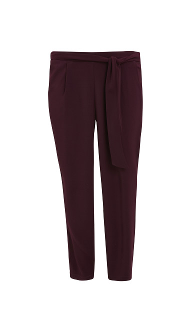 Soft Tie Front Tapered Trousers - plum