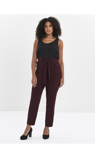 Plum Soft Tie Front Tapered Trousers