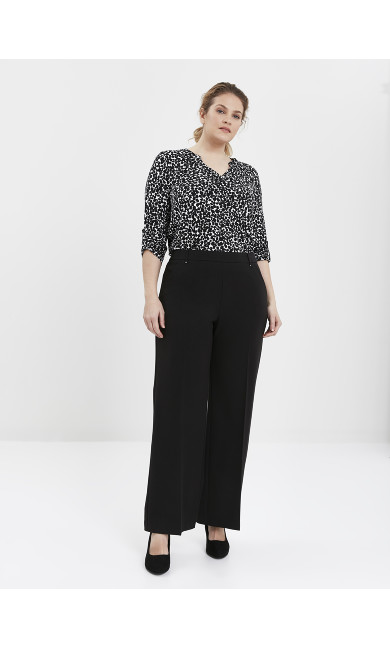 Black Stitch Detail Wide Leg Trousers