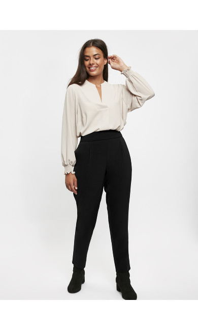 Tapered Pull On Trousers - black