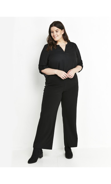 Wide Leg Trousers Black - petite