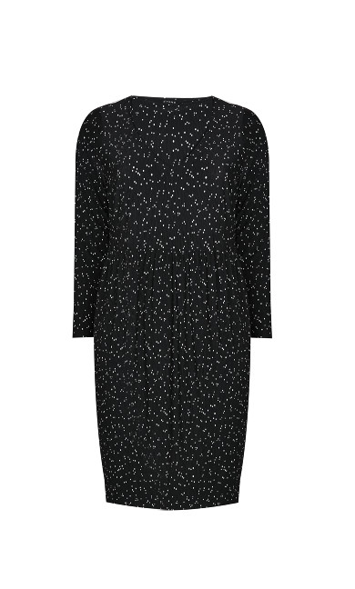 Polka Dot V-Neck Dress - black