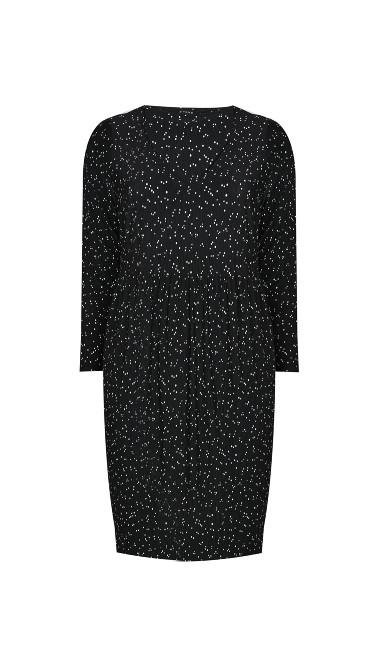 Polka Dot V-Neck Dress - black