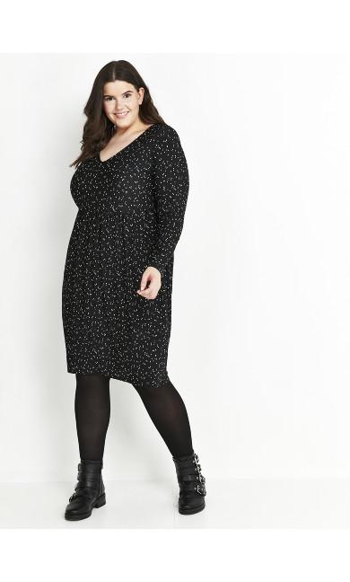 Black Polka Dot V-Neck Dress