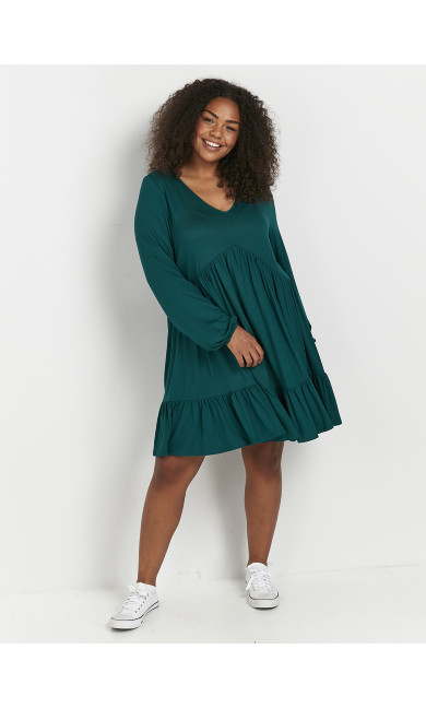 Green Tiered Tunic Dress