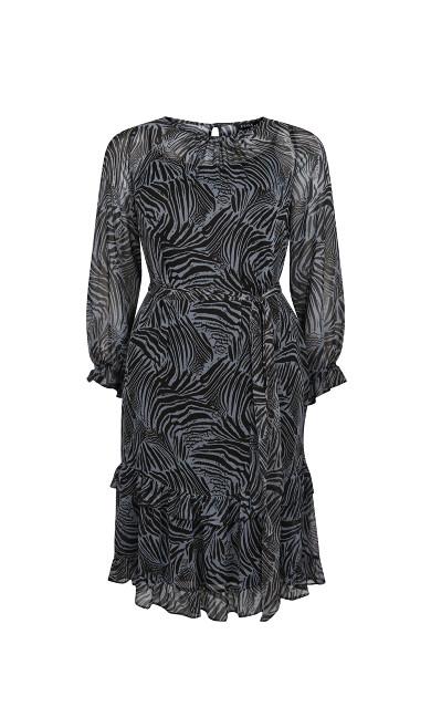 Lilac Animal Print Tiered Hem Dress