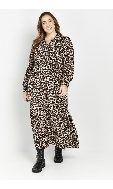 Neutral Animal Print Maxi Dress
