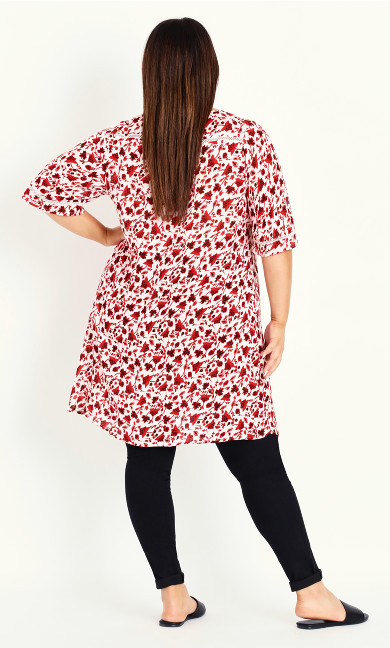 Crochet Detail Floral Tunic - red