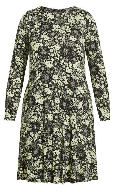 Zip Back Dress - green floral