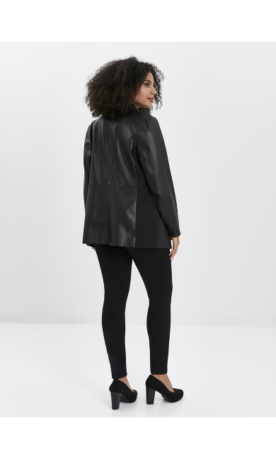 Faux Leather Waterfall Jacket - black