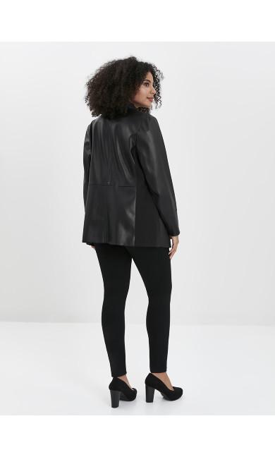 Faux Leather Waterfall Jacket - black