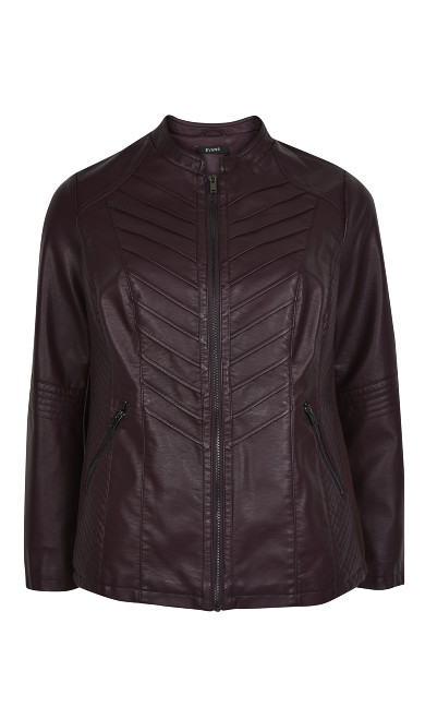 Purple PU Biker Jacket