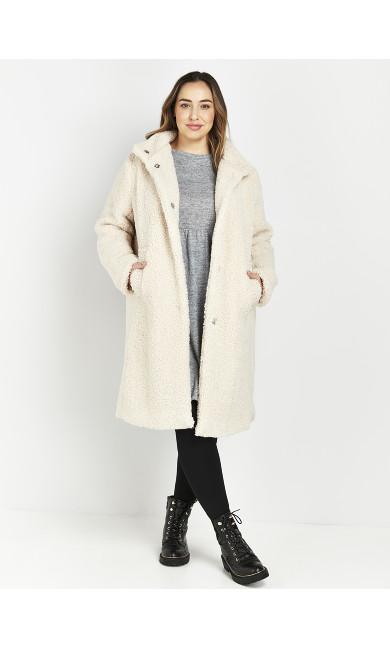 Cream Funnel Teddy Coat