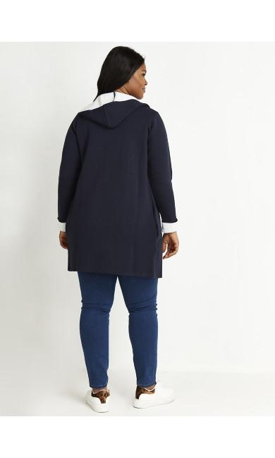 Contrast Knit Hoodie - navy
