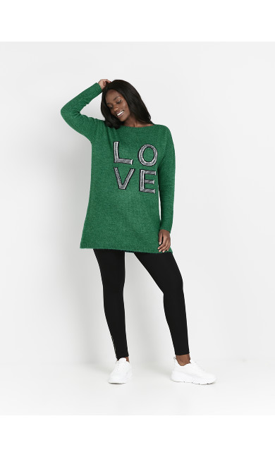Green 'Love' Slogan Tunic Jumper
