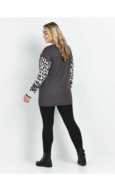 Grey Animal Print Star Tunic
