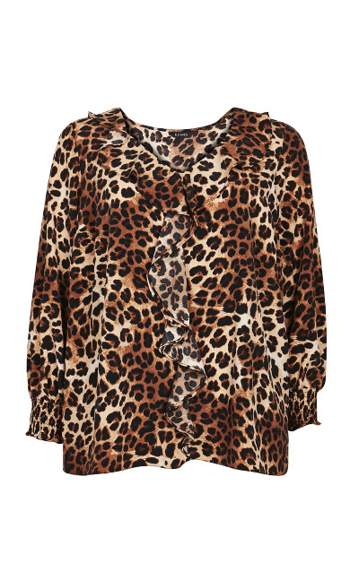 Brown Leopard Frill Neck Top