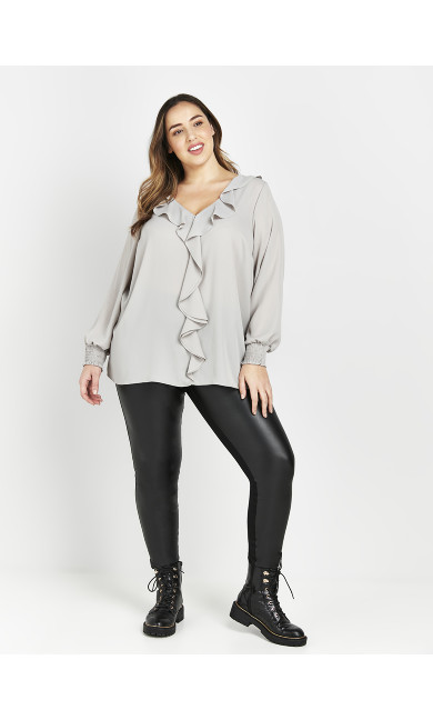 Grey Frill Front Top