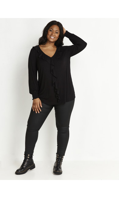 BLACK JERSEY FRILL NECK TOP