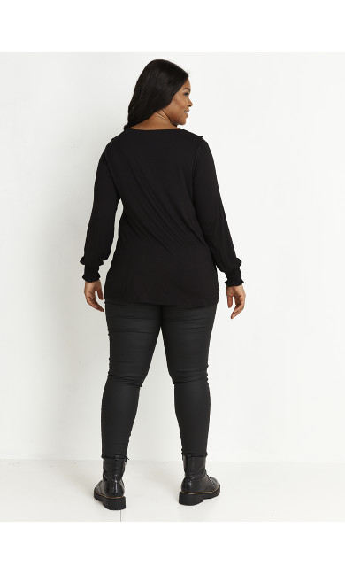 Jersey Frill Neck Top - black