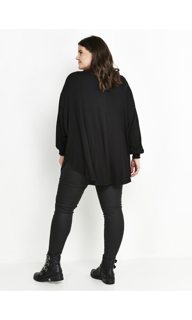 Black Oversized Jersey Top