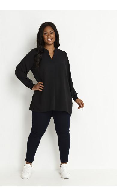 Black Shirred Cuff Tunic