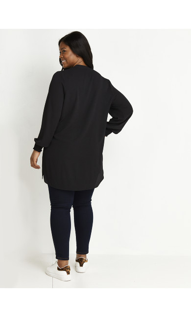Shirred Cuff Top - black
