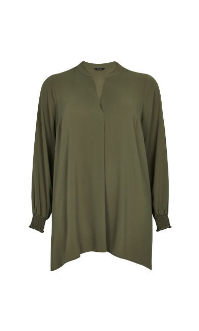 Khaki Shirred Cuff Shirt