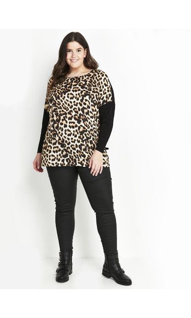 Black Animal Print Top
