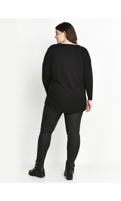 Animal Contrast Top - black
