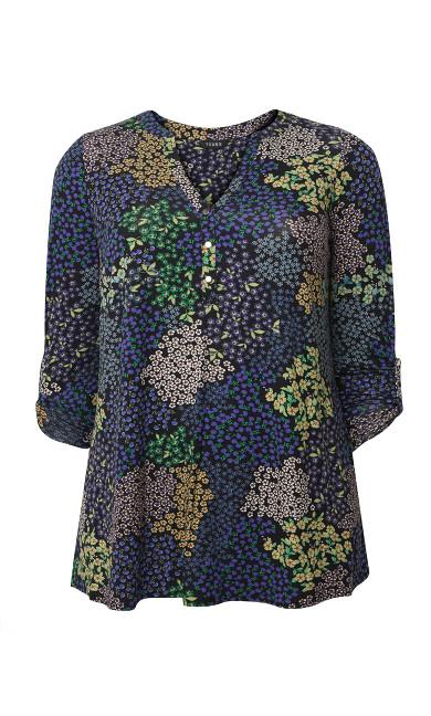 Patchwork Floral Jersey Top - black