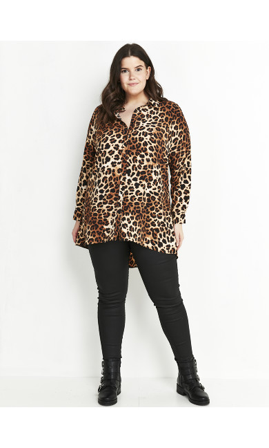 Neutral Animal Print Dipped Hem Shirt