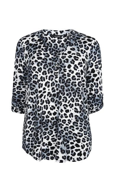Grey Leopard Print Jersey Shirt