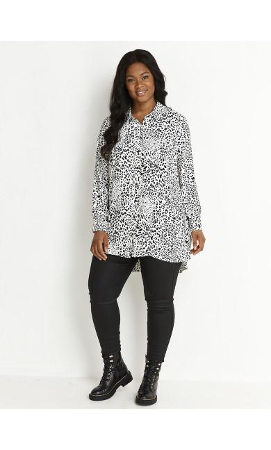 Black Monochrome Dipped Hem Shirt