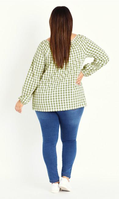 Gingham Long Sleeve Top - green
